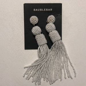 Baublebar white beaded tassel earrings